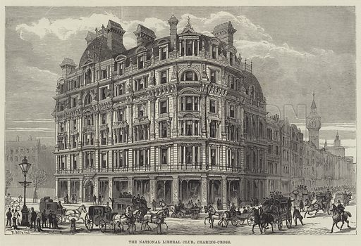 The National Liberal Club, Charing-Cross. Illustration for The Illustrated London News, 5 May 1883.