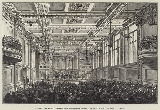 Concert at the Piccadilly Art Galleries, before the Prince and Princess of Wales. Illustration for The Illustrated London News, 5 May 1883.