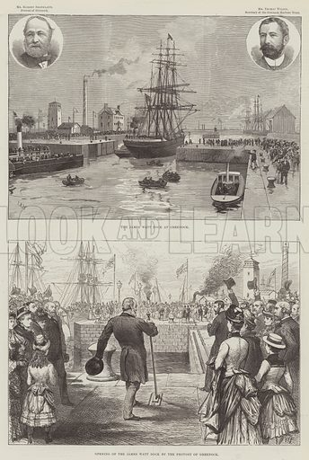 The James Watt Dock at Greenock. Illustration for The Illustrated London News, 14 August 1886.