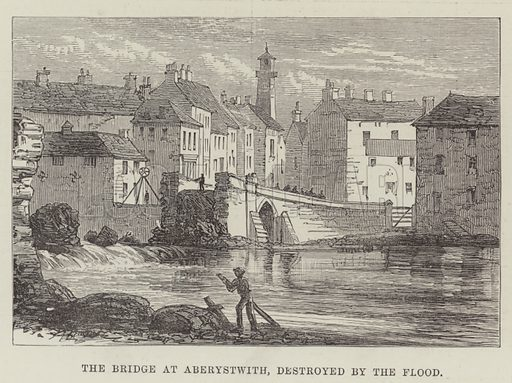 The Bridge at Aberystwith, destroyed by the Flood. Illustration for The Illustrated London News, 30 October 1886.