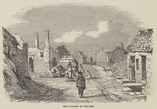 The Village of Killard. Illustration for The Illustrated London News, 9 February 1850.