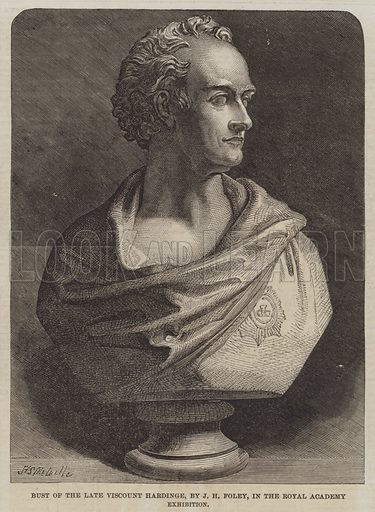 Bust of the late Viscount Hardinge, by JH Foley. Illustration for The Illustrated London News, 4 August 1860.