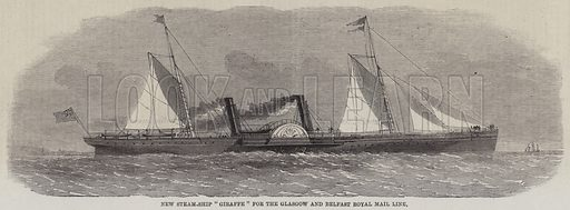 "New Steam-Ship ""Giraffe"" for the Glasgow and Belfast Royal Mail Line. Illustration for The Illustrated London News, 4 August 1860."