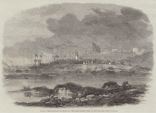 Laying the Foundation-Stone of the Low-Lights Dock at Tynemouth. Illustration for The Illustrated London News, 9 July 1864.