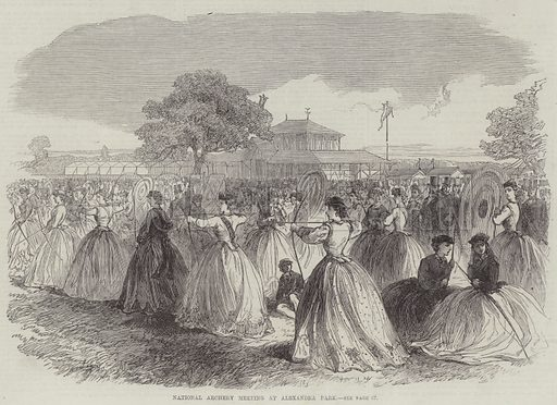 National Archery Meeting at Alexandra Park. Illustration for The Illustrated London News, 16 July 1864.