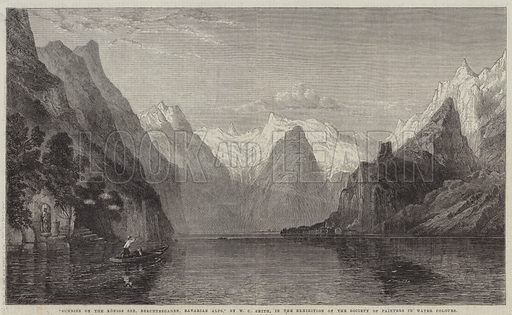 Sunrise on the Konigs See, Berchtesgaden, Bavarian Alps. Illustration for The Illustrated London News, 16 July 1864.