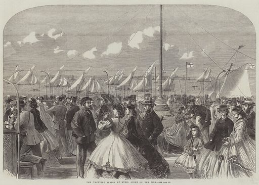 The Yachting Season at Ryde, Scene on the Pier. Illustration for The Illustrated London News, 20 August 1864.