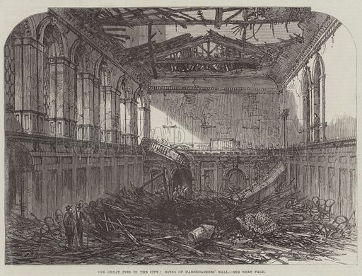The Great Fire in the City, Ruins of Haberdashers' Hall. Illustration for The Illustrated London News, 1 October 1864.