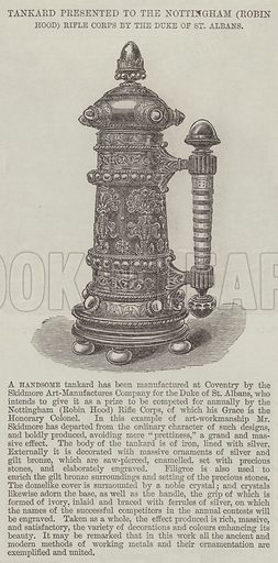 Tankard presented to the Nottingham (Robin Hood) Rifle Corps by the Duke of St Albans. Illustration for The Illustrated London News, 1 October 1864.