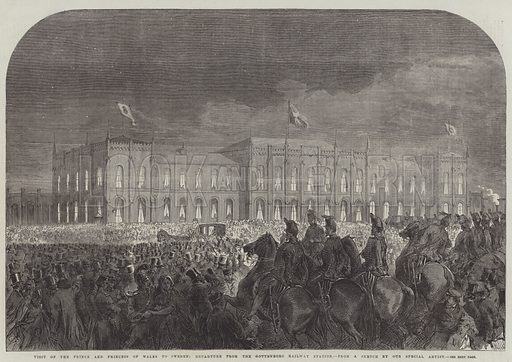 Visit of the Prince and Princess of Wales to Sweden, Departure from the Gottenborg Railway Station. Illustration for The Illustrated London News, 22 October 1864.