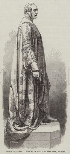 Statue of Prince Albert, by M Noble, in Peel Park, Salford. Illustration for The Illustrated London News, 19 November 1864.