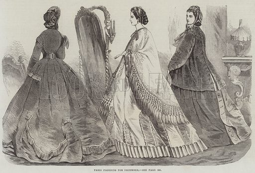 Paris Fashions for December. Illustration for The Illustrated London News, 26 November 1864.