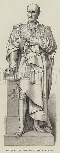 Statue of the late Lord Farnham, at Cavan. Illustration for The Illustrated London News, 3 February 1872.