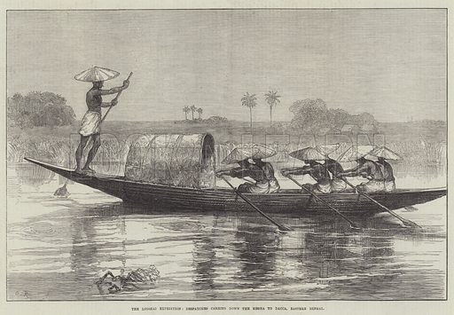 The Looshai Expedition, Despatches carried down the Megna to Dacca, Eastern Bengal. Illustration for The Illustrated London News, 17 February 1872.