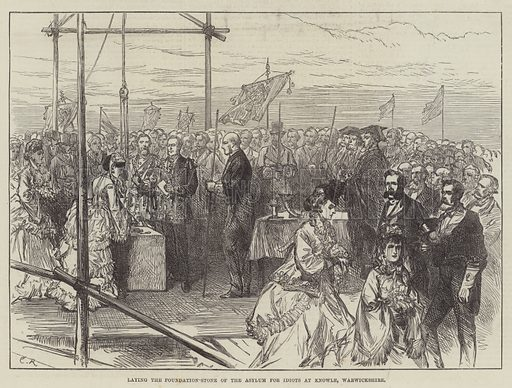 Laying the Foundation-Stone of the Asylum for Idiots at Knowle, Warwickshire. Illustration for The Illustrated London News, 11 May 1872.