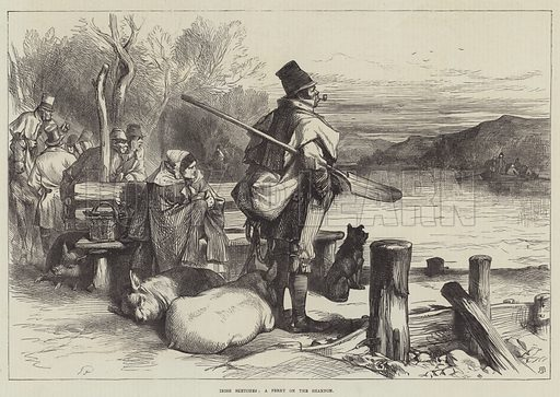 Irish Sketches, a Ferry on the Shannon. Illustration for The Illustrated London News, 22 June 1872.