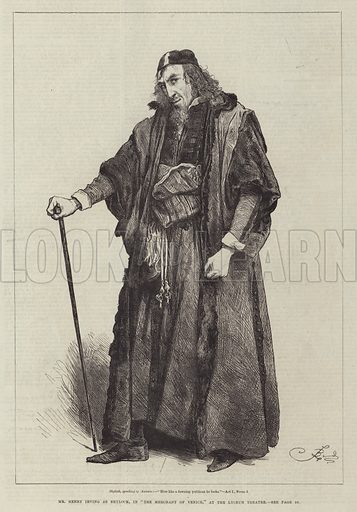 """Mr Henry Irving as Shylock, in """"The Merchant of Venice,"""" at the Lyceum Theatre"""