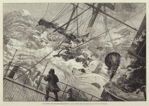 The Orient Line Steamer Chimborazo in a Gale. Illustration for The Illustrated London News, 21 February 1880.