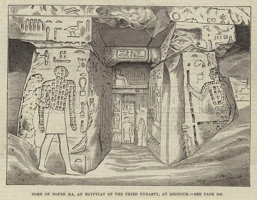 Tomb of Nofre Ma, an Egyptian of the Third Dynasty, at Meidoum. Illustration for The Illustrated London News, 28 February 1880.