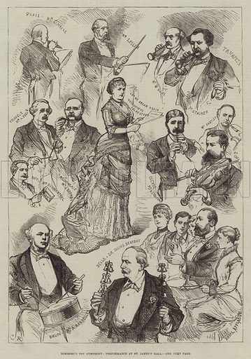 Romberg's Toy Symphony, Performance at St James's Hall. Illustration for The Illustrated London News, 22 May 1880.