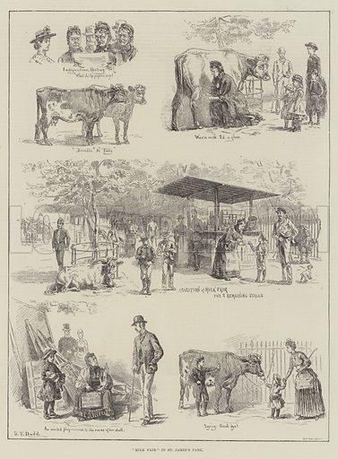 """""""Milk Fair"""" in St James's Park. Illustration for The Illustrated London News, 12 September 1885."""