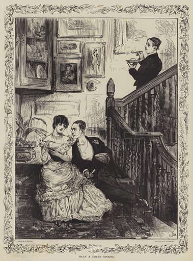 Half a Dozen Spoons. Illustration for The Illustrated London News, Christmas Number 1885.