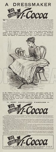 Advertisement, Dr Tibbles' Vi-Cocoa. Illustration for The Illustrated London News, 8 January 1898.