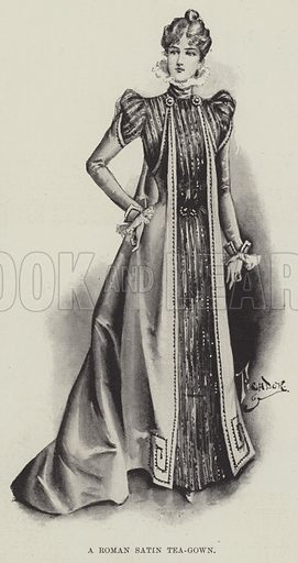 A Roman Satin Tea-Gown. Illustration for The Illustrated London News, 22 January 1898.