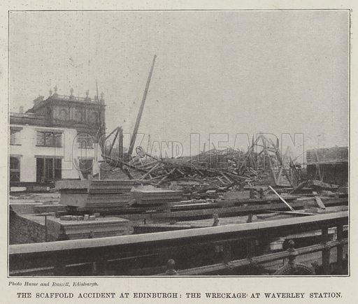 The Scaffold Accident at Edinburgh, the Wreckage at Waverley Station. Illustration for The Illustrated London News, 26 March 1898.