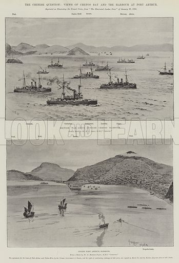 The Chinese Question, Views of Chefoo Bay and the Harbour at Port Arthur. Illustration for The Illustrated London News, 2 April 1898.