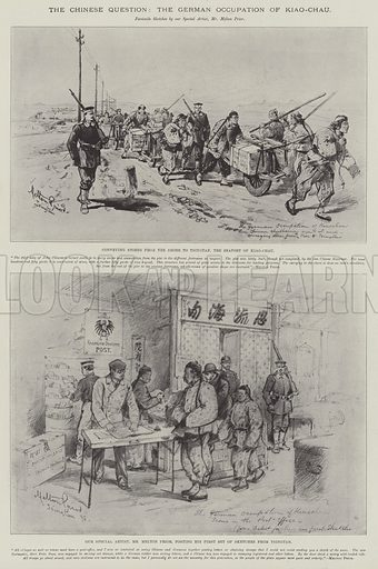 The Chinese Question, the German Occupation of Kiao-Chau. Illustration for The Illustrated London News, 9 April 1898.