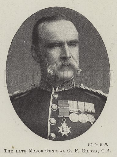 The late Major-General G F Gildea, CB. Illustration for The Illustrated London News, 16 April 1898.