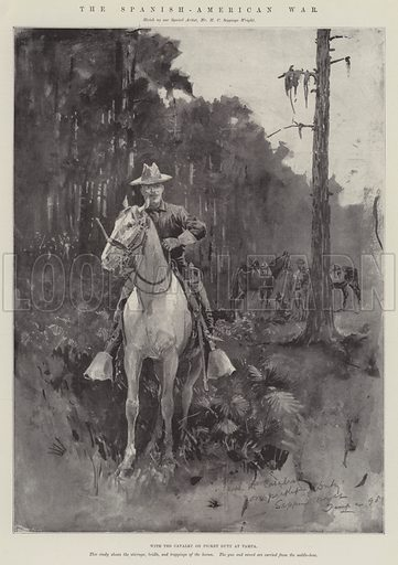 The Spanish-American War, with the Cavalry of Picket Duty at Tampa. Illustration for The Illustrated London News, 18 June 1898.