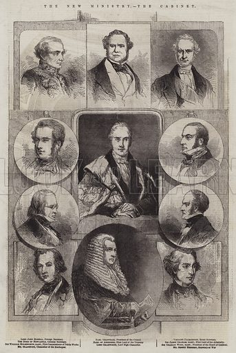 The New Ministry, the Cabinet. Illustration for The Illustrated London News, 8 January 1853.