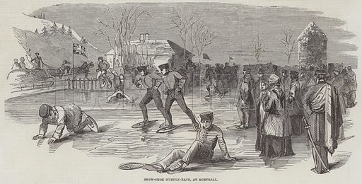 Snow-Shoe Hurdle-Race, at Montreal. Illustration for The Illustrated London News, 26 March 1853.