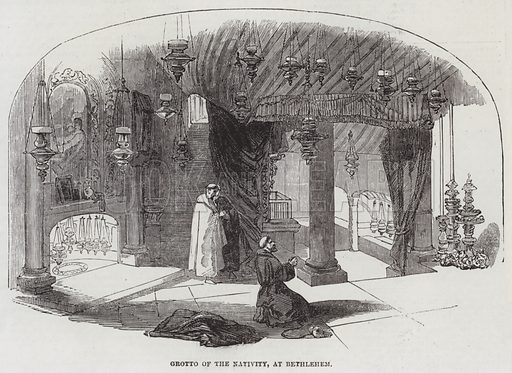 Grotto of the Nativity, at Bethlehem. Illustration for The Illustrated London News, 9 April 1853.