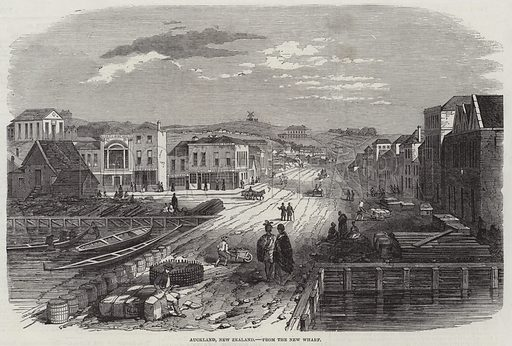 Auckland, New Zealand, from the New Wharf. Illustration for The Illustrated London News, 23 April 1853.