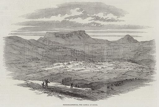 Pietermaritzburg, the Capital of Natal. Illustration for The Illustrated London News, 23 April 1853.