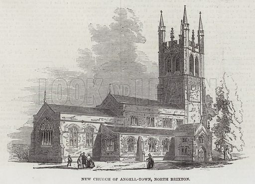 New Church of Angell-Town, North Brixton. Illustration for The Illustrated London News, 7 May 1853.