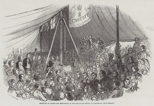 Ceremony of Laying the First Stone of the Asylum for Idiots, at Earlswood, near Reigate. Illustration for The Illustrated London News, 25 June 1853.
