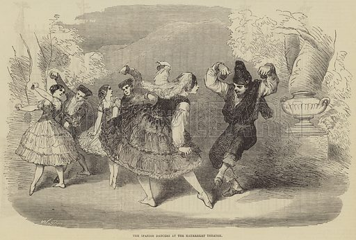 The Spanish Dancers at the Haymarket Theatre. Illustration for The Illustrated London News, 17 March 1855.
