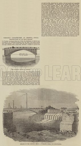 Terrible Catastrophe at Bristol, Total Destruction of an Iron Bridge. Illustration for The Illustrated London News, 24 March 1855.