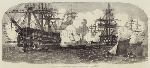 """Her Majesty, in """"The Fairy,"""" passing through the Fleet at Spithead. Illustration for The Illustrated London News, 24 March 1855."""