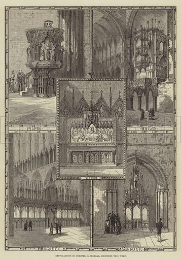 Restorations in Chester Cathedral, reopened this Week. Illustration for The Illustrated London News, 12 August 1876.