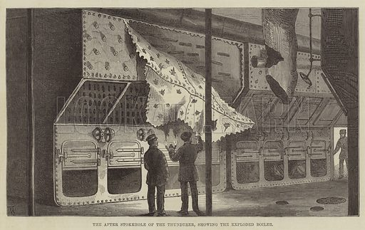 The After Stokehole of the Thunderer, showing the Exploded Boiler. Illustration for The Illustrated London News, 2 September 1876.