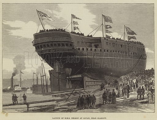 Launch of HMS Nelson at Govan, near Glasgow. Illustration for The Illustrated London News, 18 November 1876.