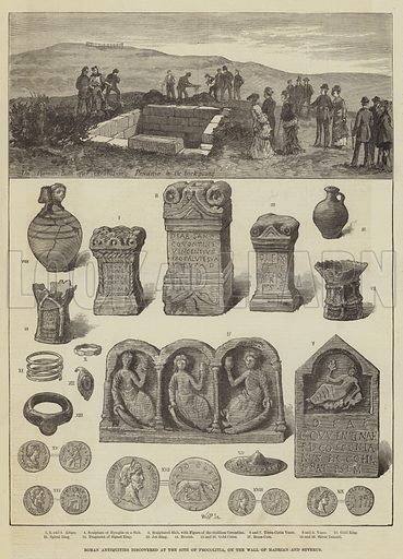 Roman Antiquities discovered at the Site of Procolitia, on the Wall of Hadrian and Severus. Illustration for The Illustrated London News, 25 November 1876.