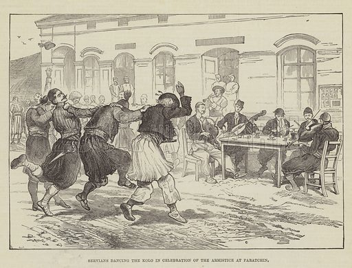Servians dancing the Kolo in Celebration of the Armistice at Paratchin. Illustration for The Illustrated London News, 2 December 1876.