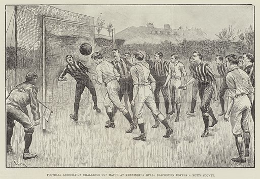 Football Association Challenge Cup Match at Kennington Oval, Blackburn Rovers v Notts County. Illustration for The Illustrated London News, 28 March 1891.