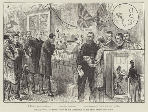 Speaking to Paris from London at the Completion of the Anglo-French Telephone. Illustration for The Illustrated London News, 28 March 1891.